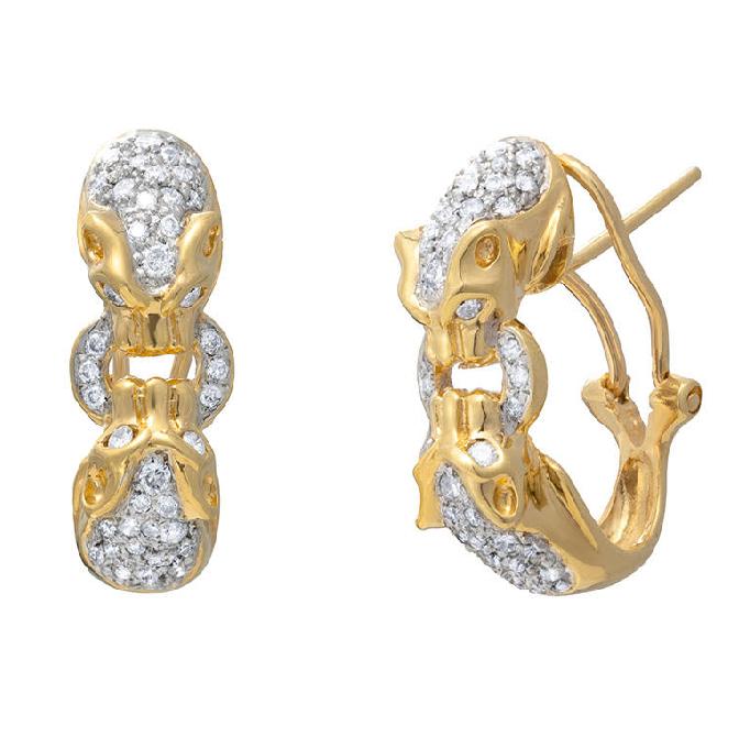 Brinco Tigre Cravejado Com Diamantes Ouro 18k