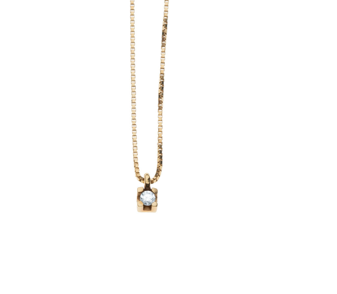 Colar 40 cm Ponto de luz Diamante Ouro 18k
