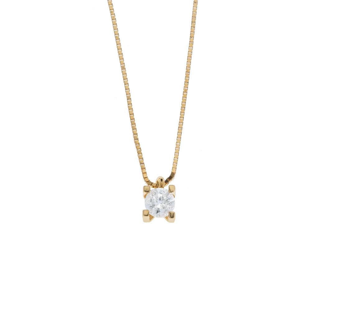 Colar 45 cm Ponto de luz Diamante Ouro 18k