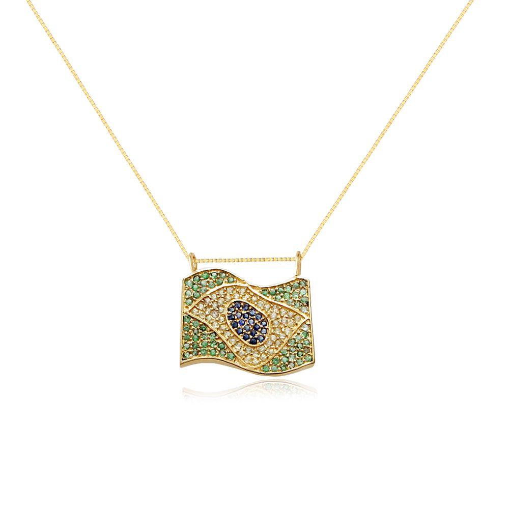 Colar Brasil em Ouro 18k com Pedras Preciosas