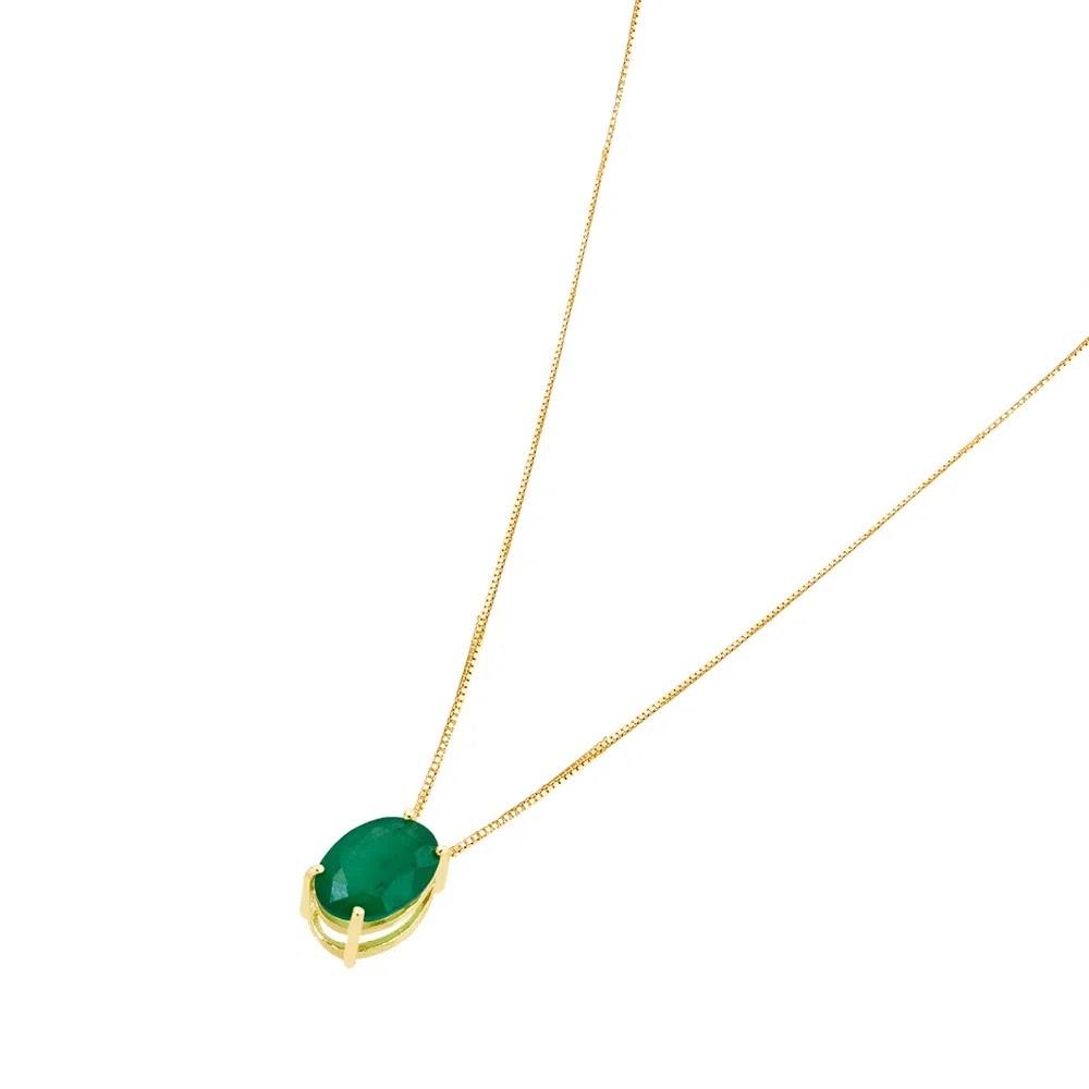 Colar com Pedra Esmeralda Ouro 18k