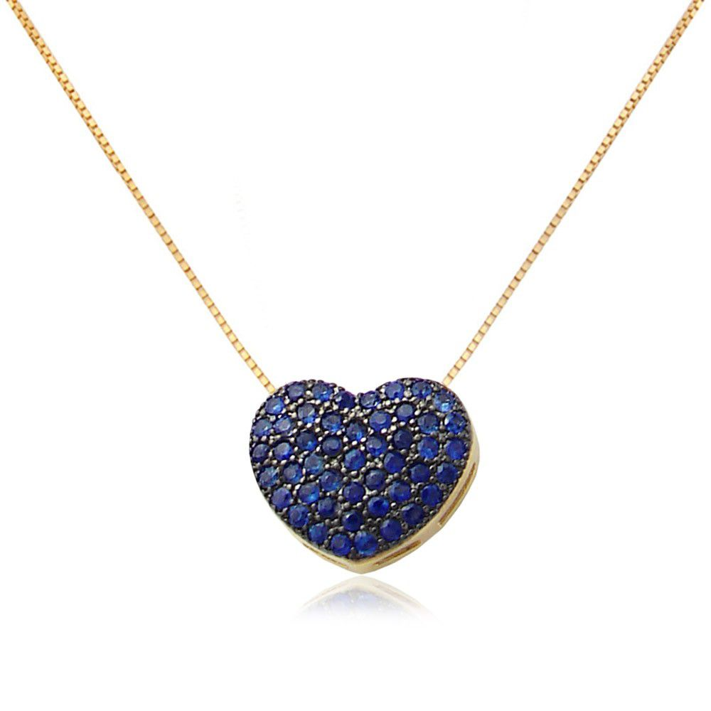 Colar Coração em Ouro 18k com Safiras