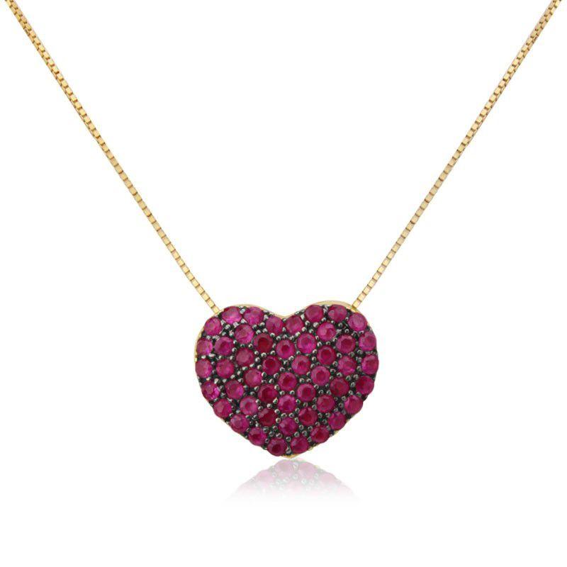 Colar Coração em Ouro 18k com Rubis