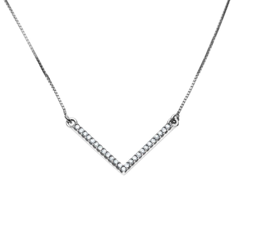 Colar detalhe V com Diamantes em Ouro Branco 18k