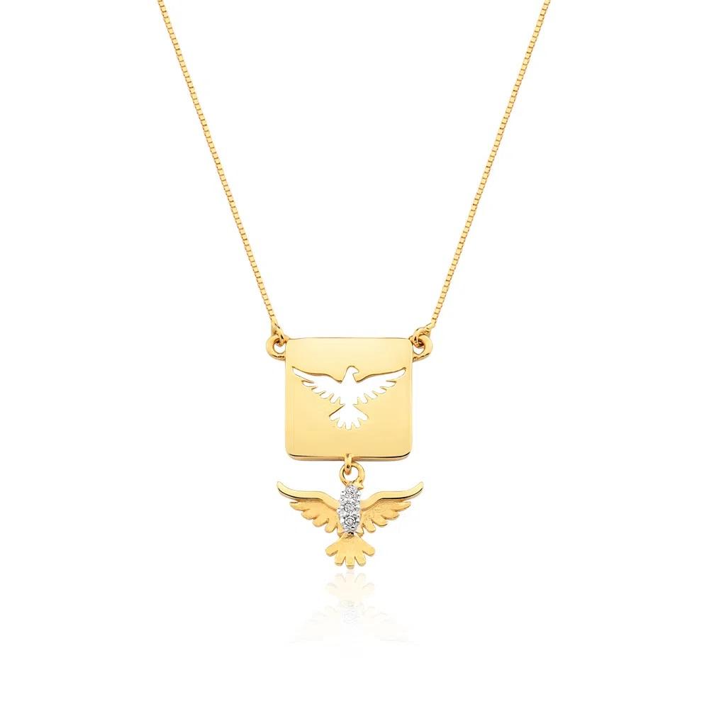Colar Divino Espirito Santo Com Diamantes Em Ouro 18k
