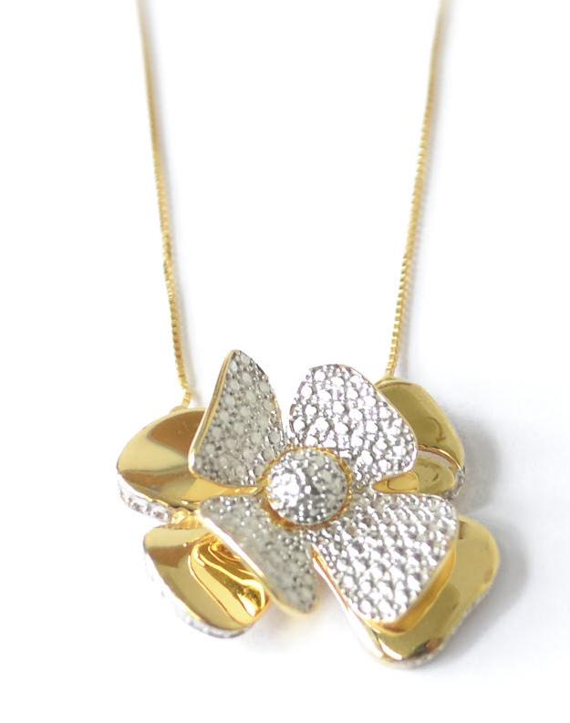 Colar Flor Diamantada Em Ouro 18k