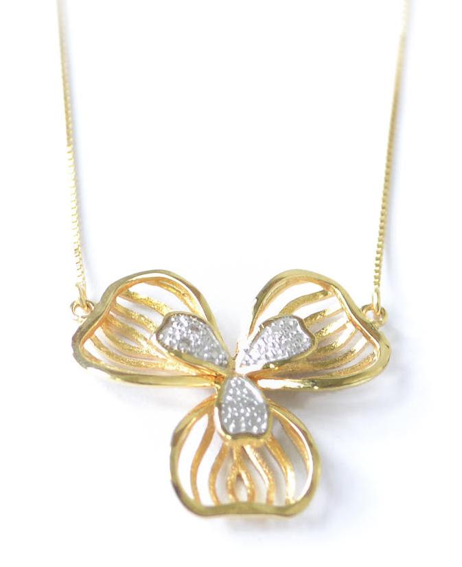 Colar Flor Pétala com Diamante Em Ouro 18k