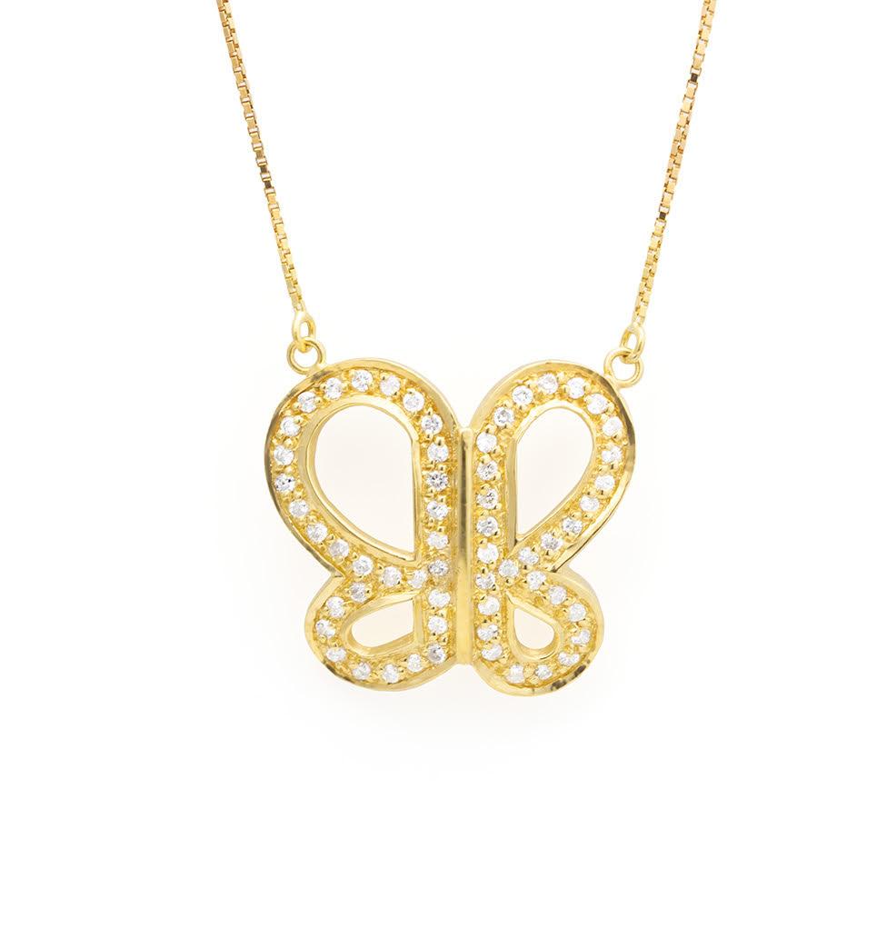 Colar Formato Borboleta Com Diamantes Ouro 18k
