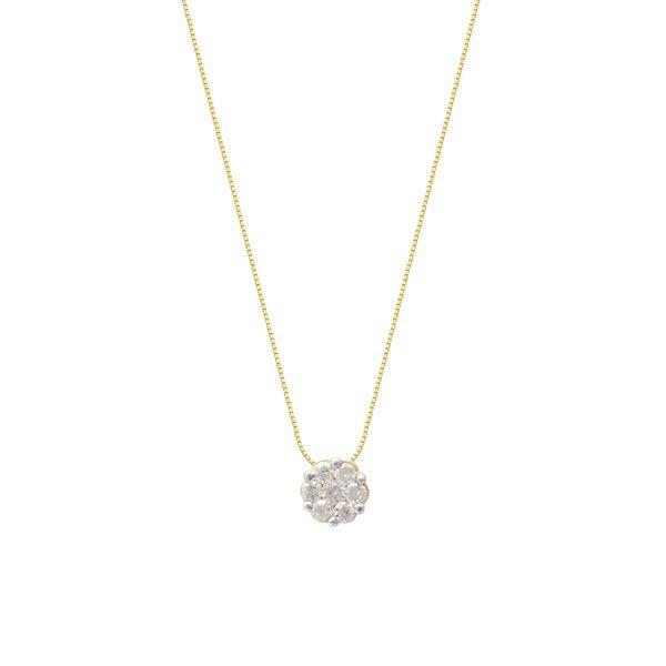 Colar Ponto De Luz Redondo Com 7 Diamantes 18K