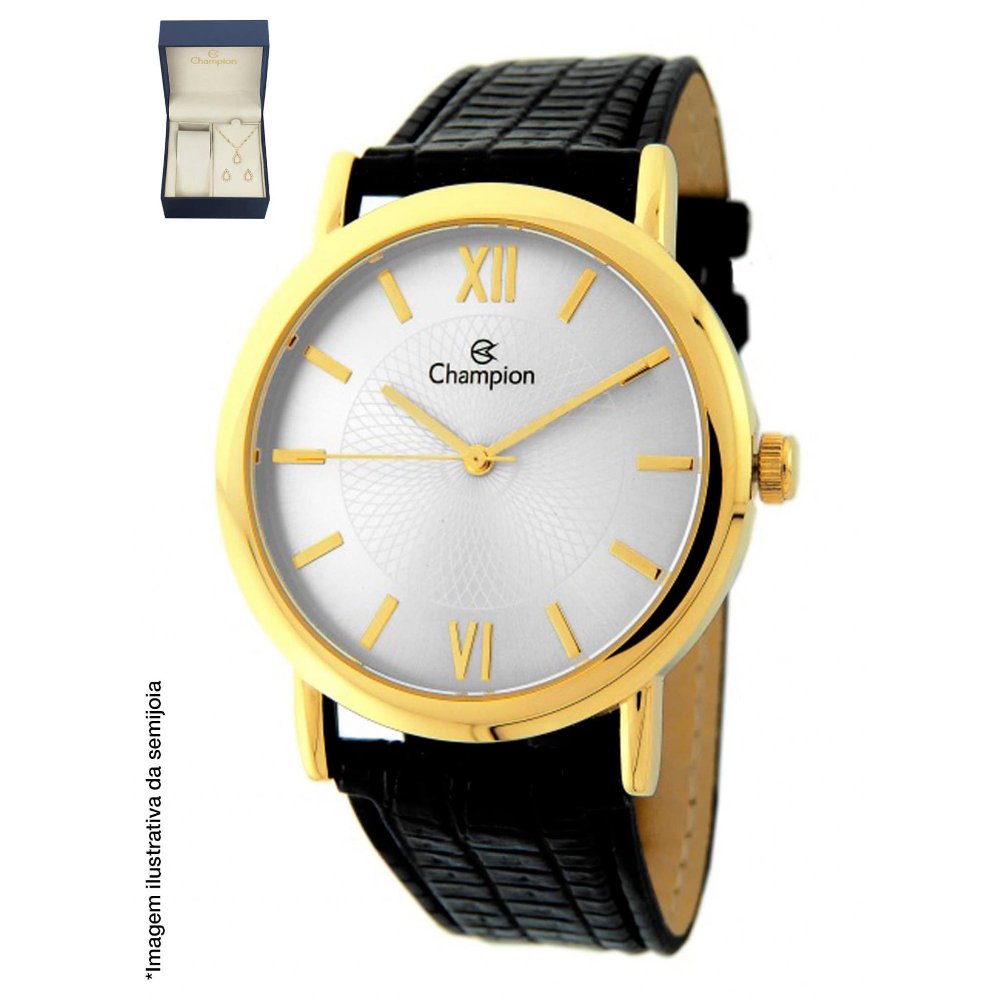 Relógio Champion Dourado + Kit Colar e Brincos - CH22699W
