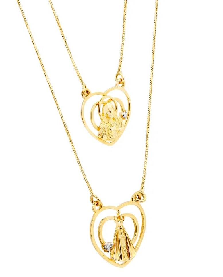 Escapulário Coração Nossa Senhora aparecida em Ouro 18k com Diamantes