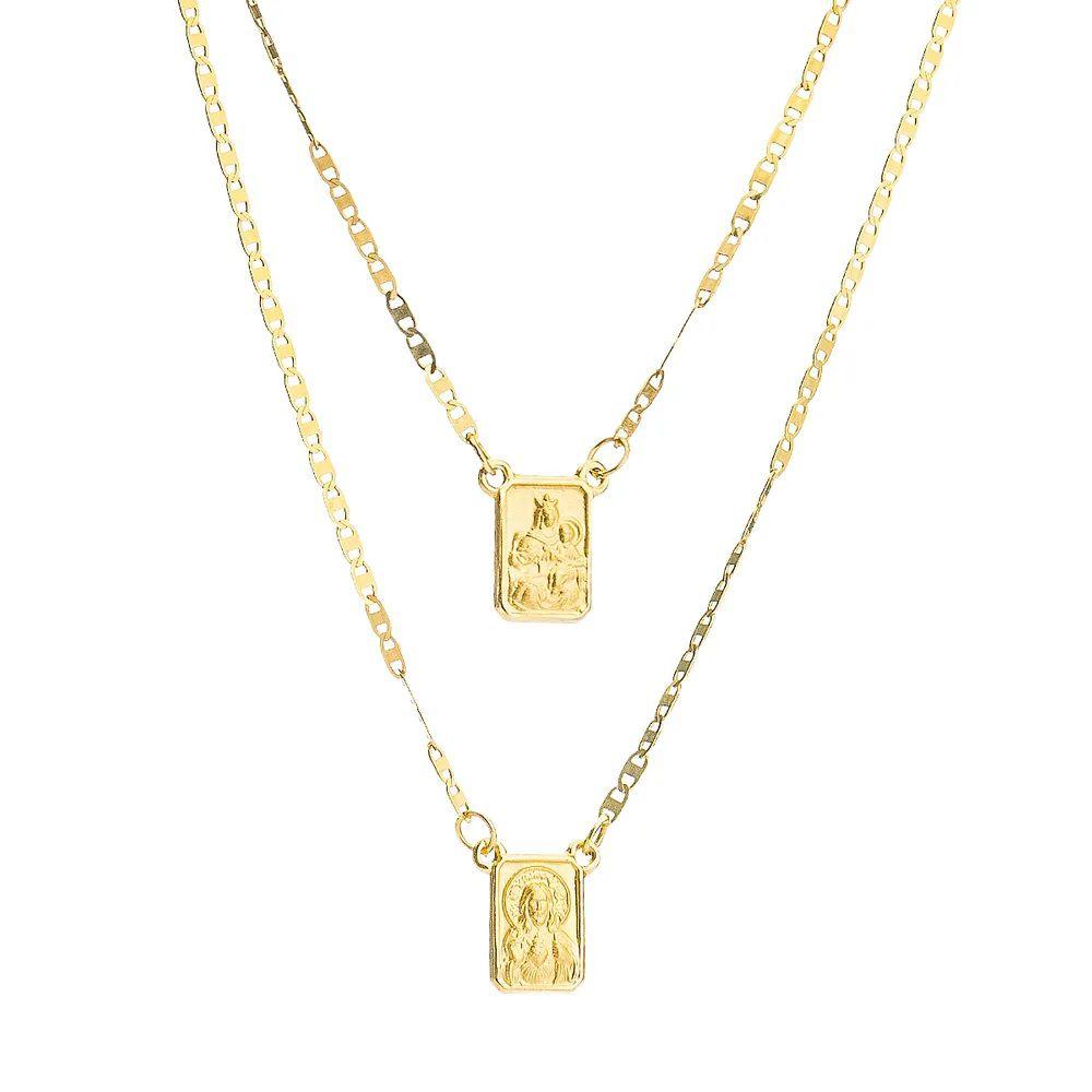 Escapulário Piastrine em Ouro 18k com 60cm