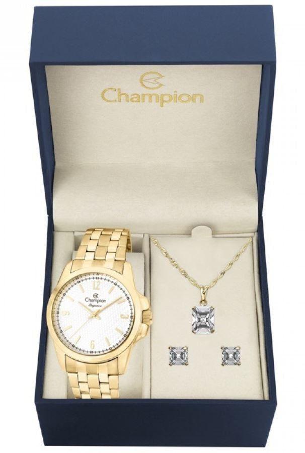 Kit Relógio Champion Elegance Feminino Com Colar e Brincos