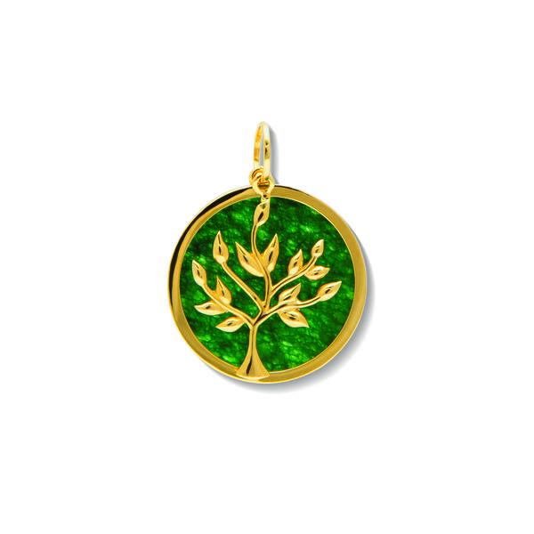 Pingente Árvore da Vida em Ouro 18k com Jade