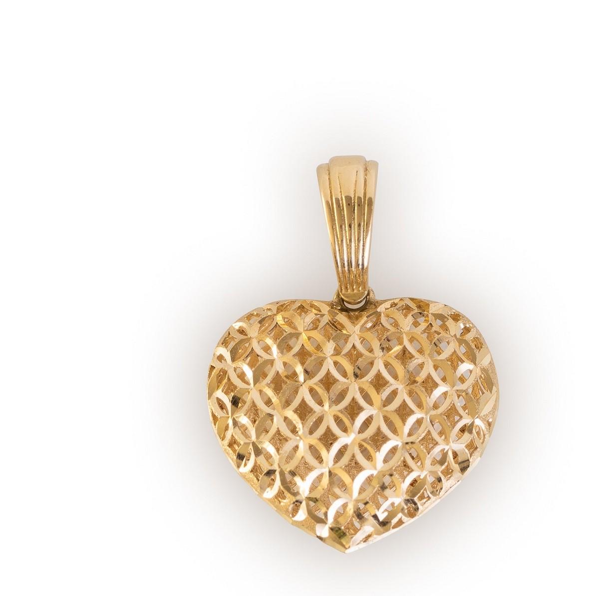 Pingente Coração  Bojudo Vazado em Ouro 18k