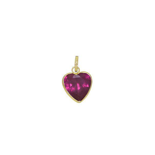 Pingente Coração  com Zircônia em Ouro 18k
