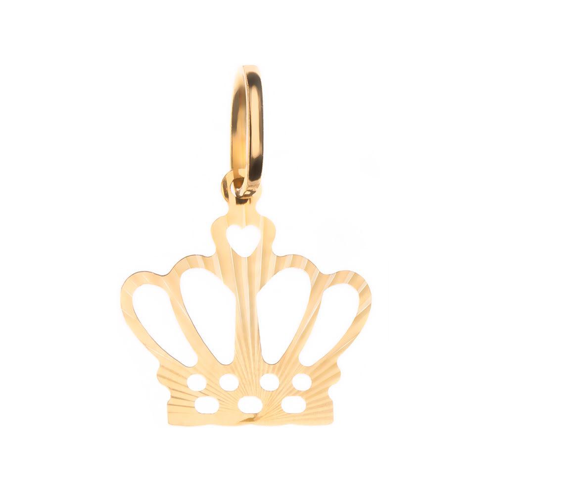 Pingente Coroa Vazada Ouro 18k