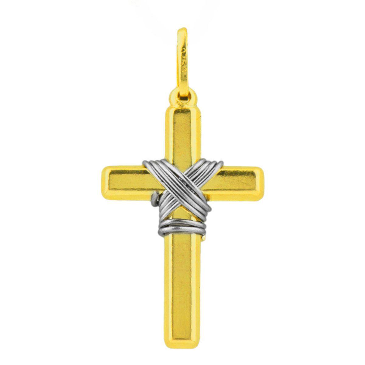 Pingente Cruz com Detalhe em Ródio Ouro 18k