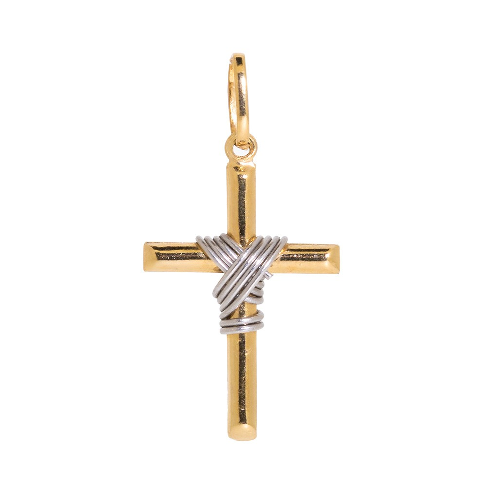 Pingente Cruz em Ouro 18k com Fios em Ouro Branco