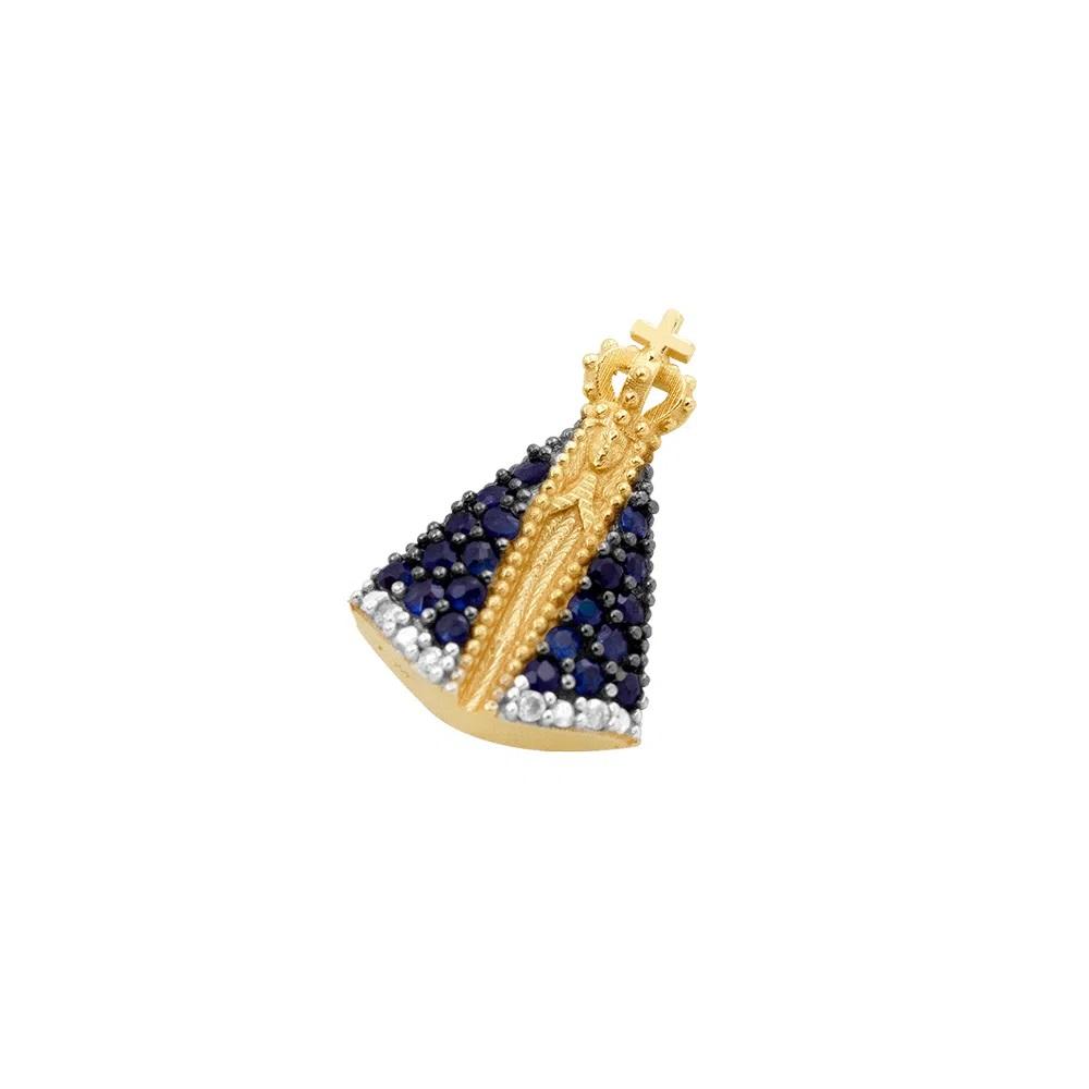 Pingente em Ouro 18k Nossa Senhora Aparecida Com Safiras e Diamantes
