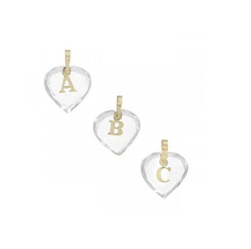 Pingente Letra Coração em Ouro 18k com Cristal