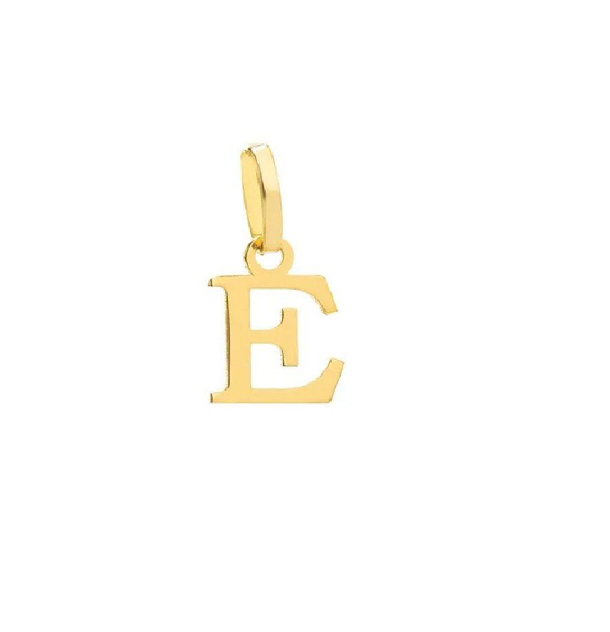 Pingente Letra E em Ouro 18k