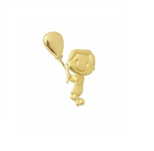 Pingente Menino com Brilhante com Balão em Ouro 18k