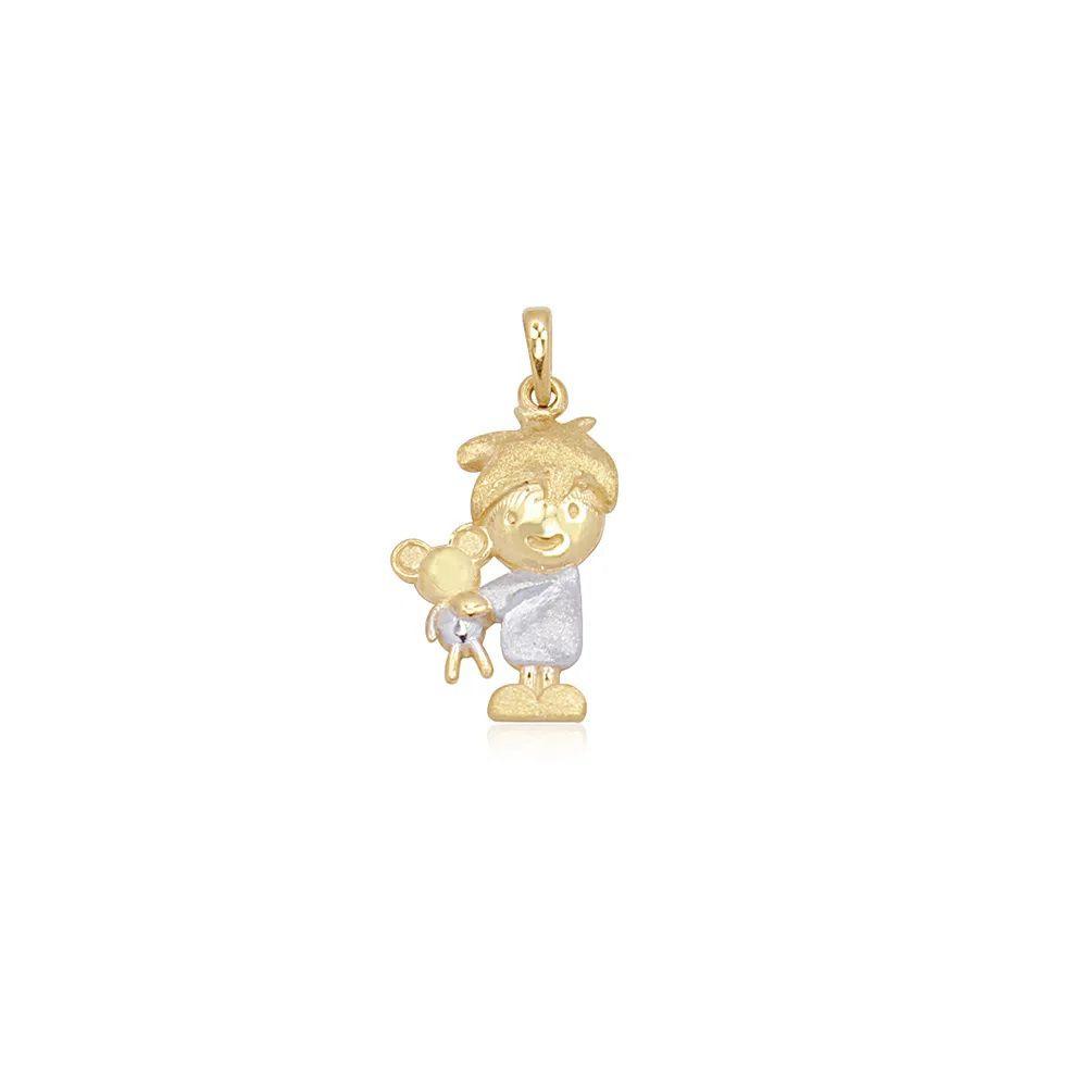 Pingente Menino com Urso em Ouro 18k