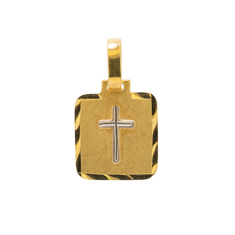Pingente Placa com Cruz em Ouro 18k
