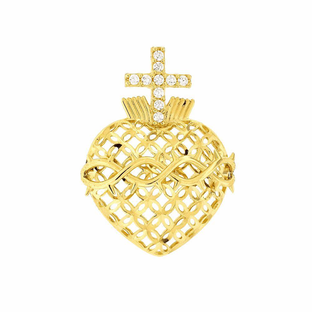 Pingente Sagrado Coração com Zircônia em Ouro 18k