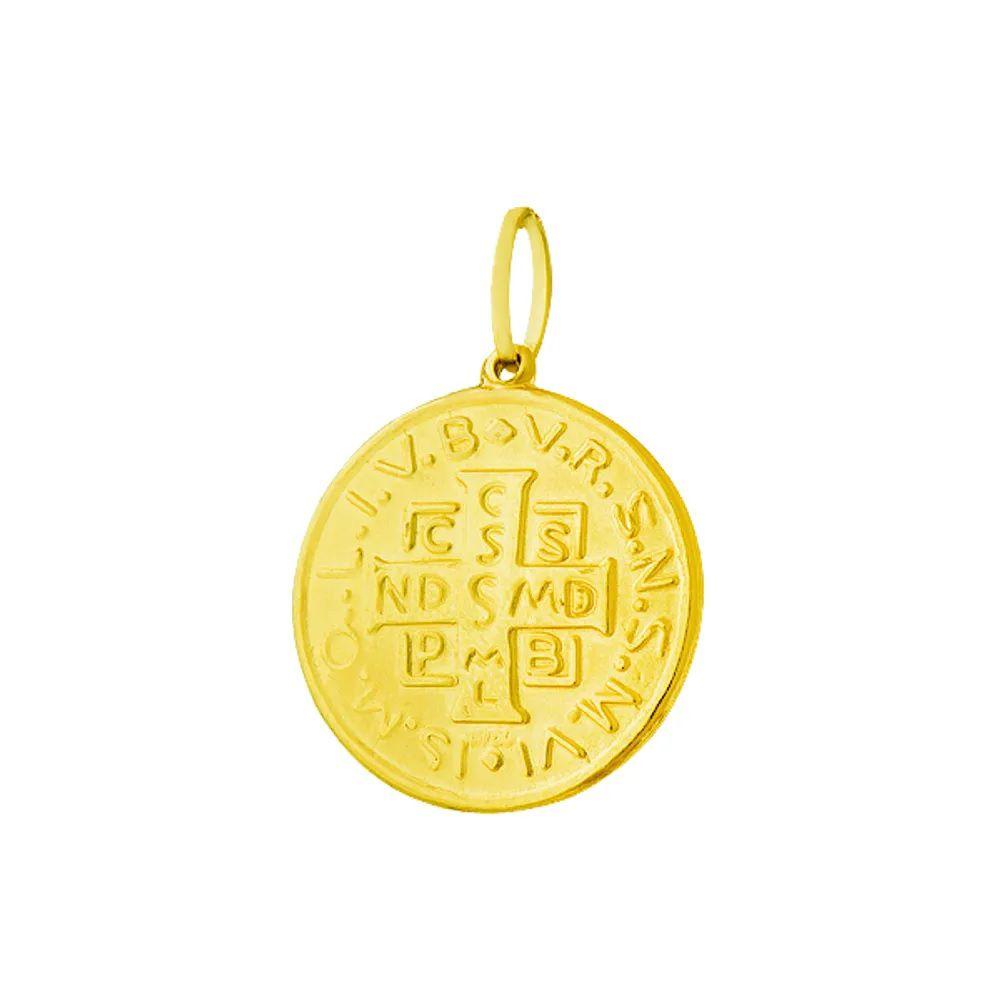 Pingente  São Bento em Ouro 18k
