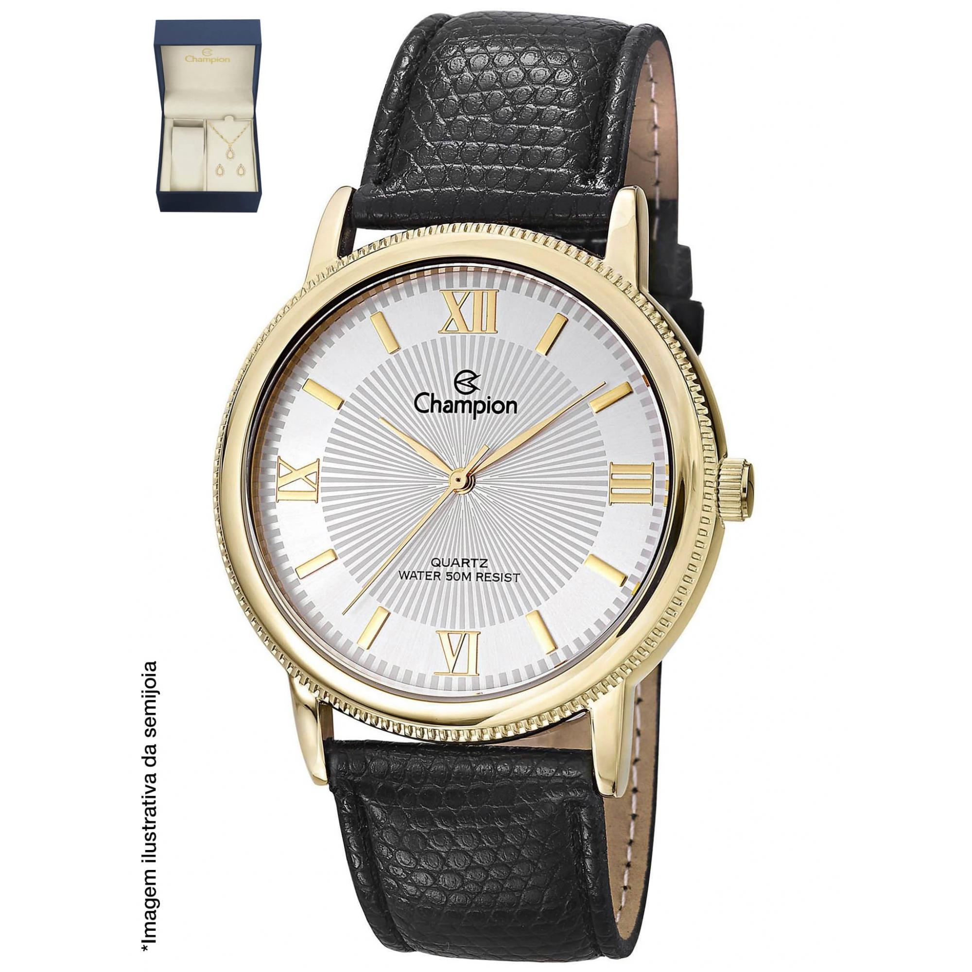 Relógio Champion  Dourado + Kit Colar e Brincos - CH22797W