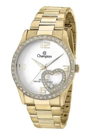 Relógio Champion Feminino Dourado Strass Coração - CN28535W