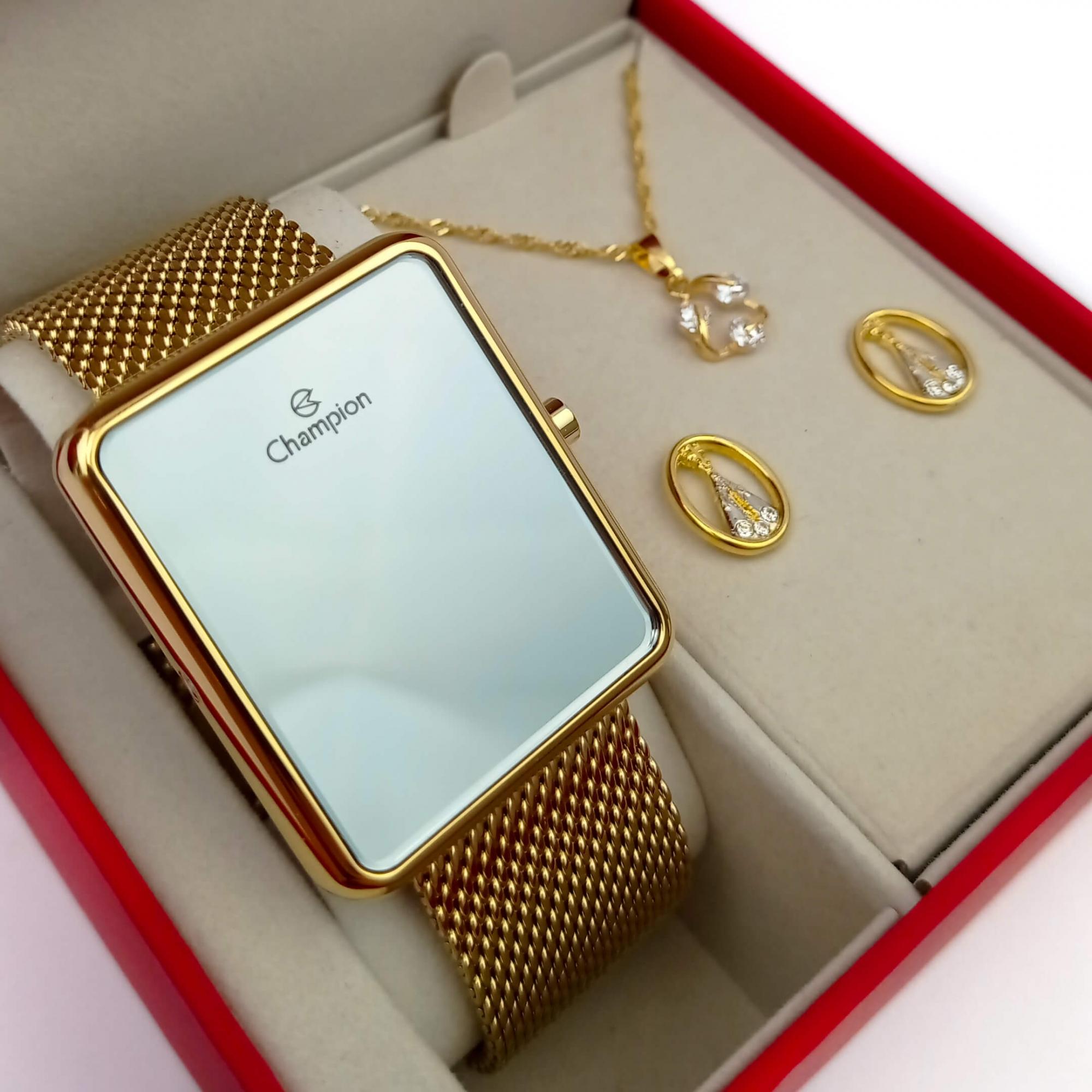 Relógio Champion Feminino Digital CH40080B  + Kit de Brincos e Colar