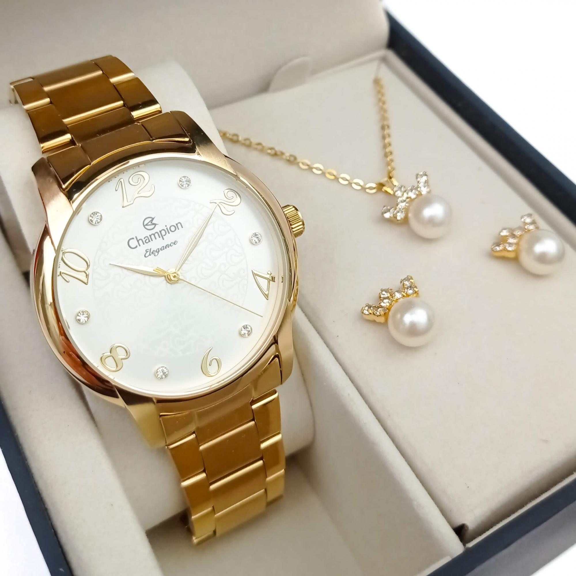 Relógio Champion Feminino Dourado CN26224W + Kit Colar e Brincos
