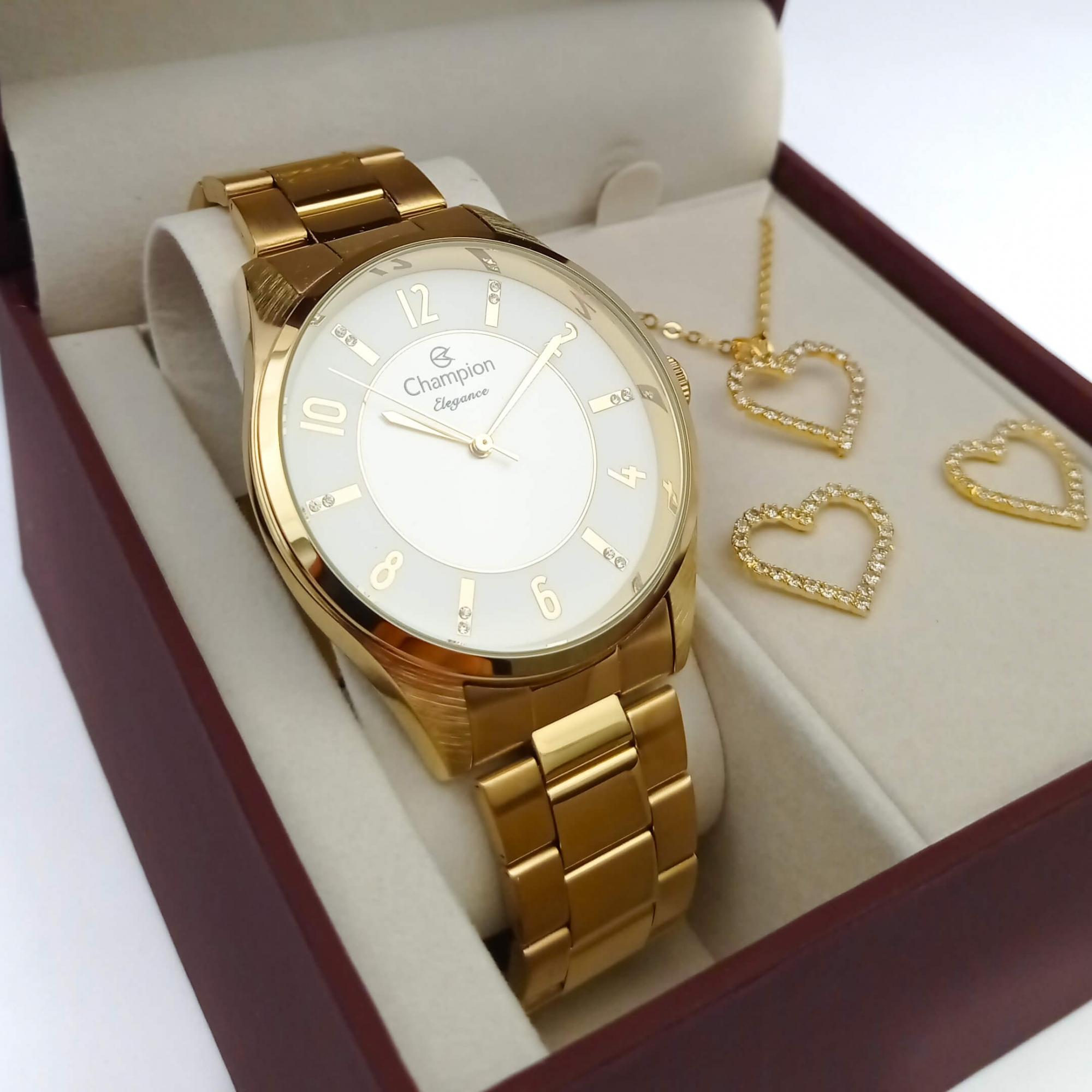Relógio Champion Feminino Dourado CN26288W + Kit Colar e Brincos