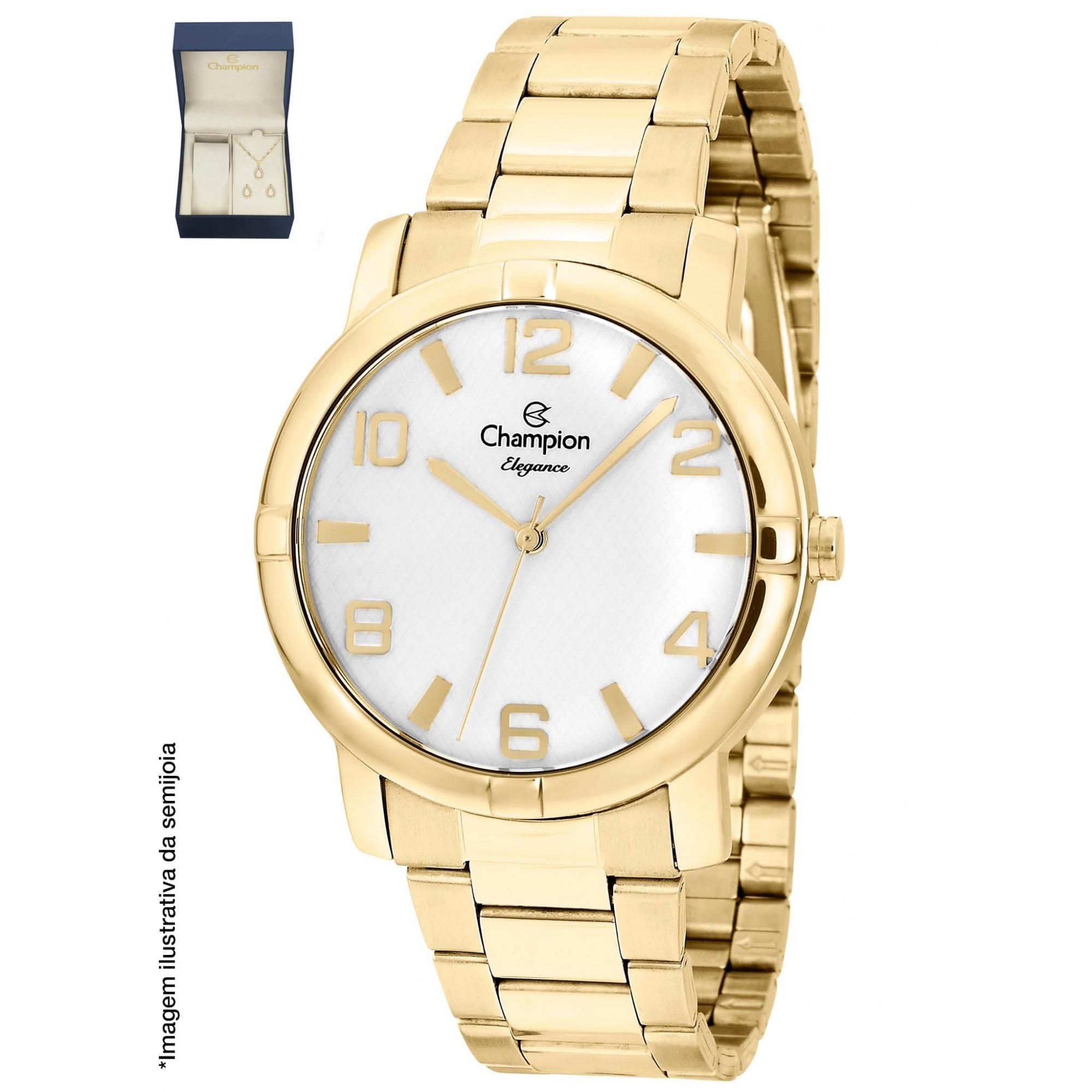 Relógio Champion Feminino Dourado + Kit Colar e Brincos - Elegance - CN25181W