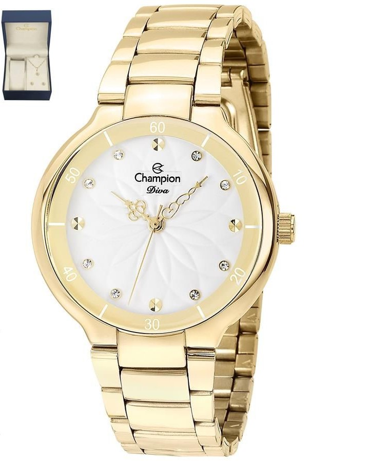 Relógio Champion Feminino Dourado + Kit Colar e Brincos - Diva - CN25234W
