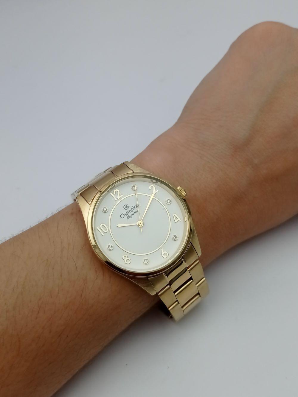 Relógio Champion Feminino Dourado + Kit Colar e Brincos - Elegance - CN25690W