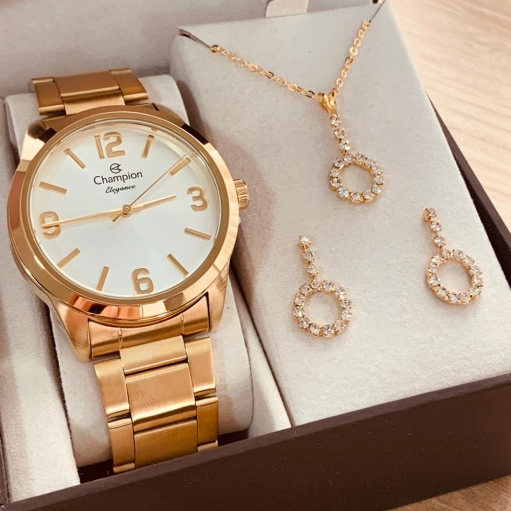 Relógio Champion Feminino Dourado + Kit Colar e Brincos - Elegance - CN27232W