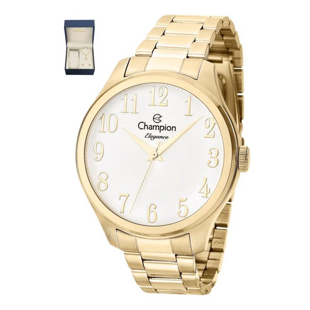 Relógio Champion Feminino Dourado + Kit Colar e Brincos - Elegance - CN27518W