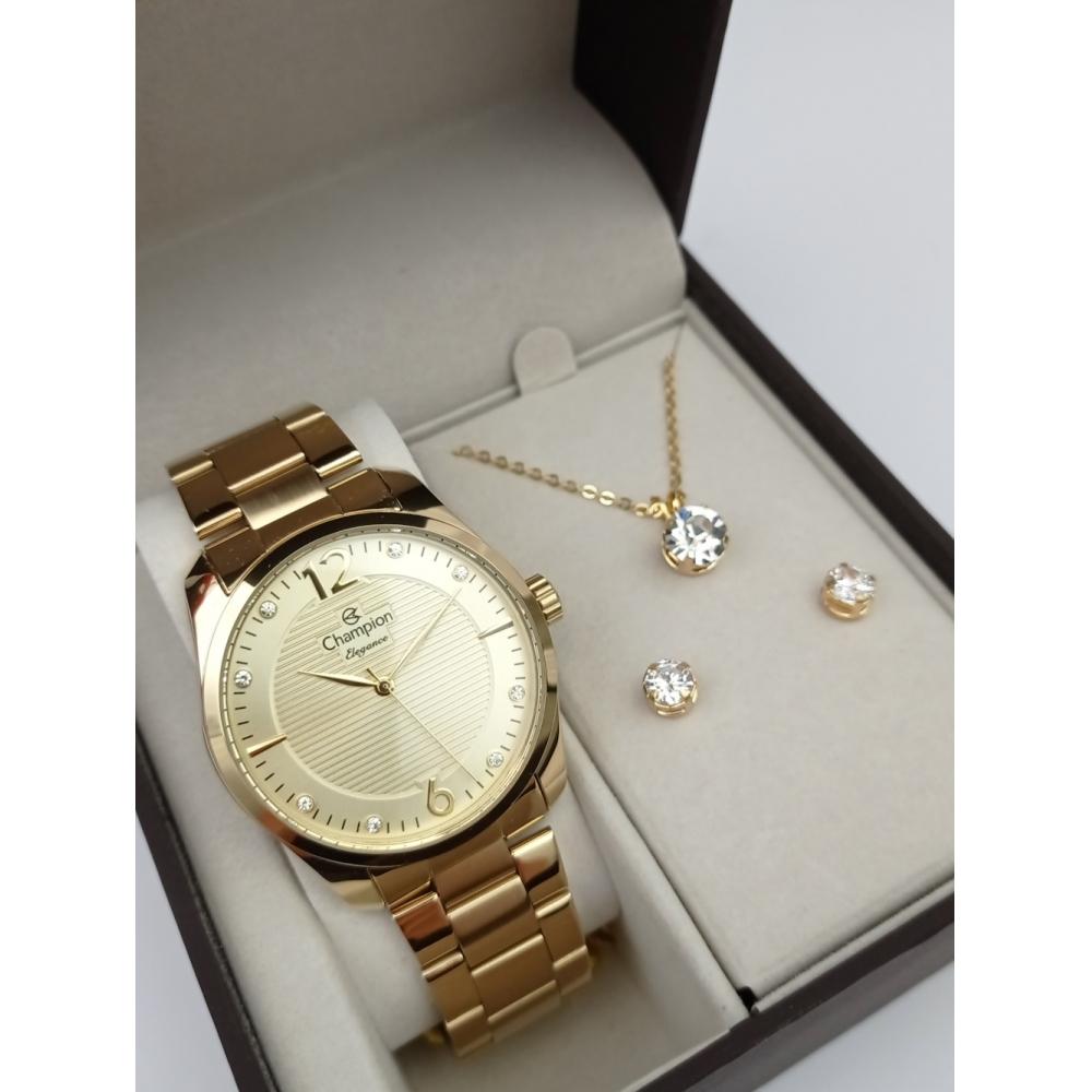 Relógio Champion Feminino Dourado + Kit Colar e Brincos - Elegance - CN27607W
