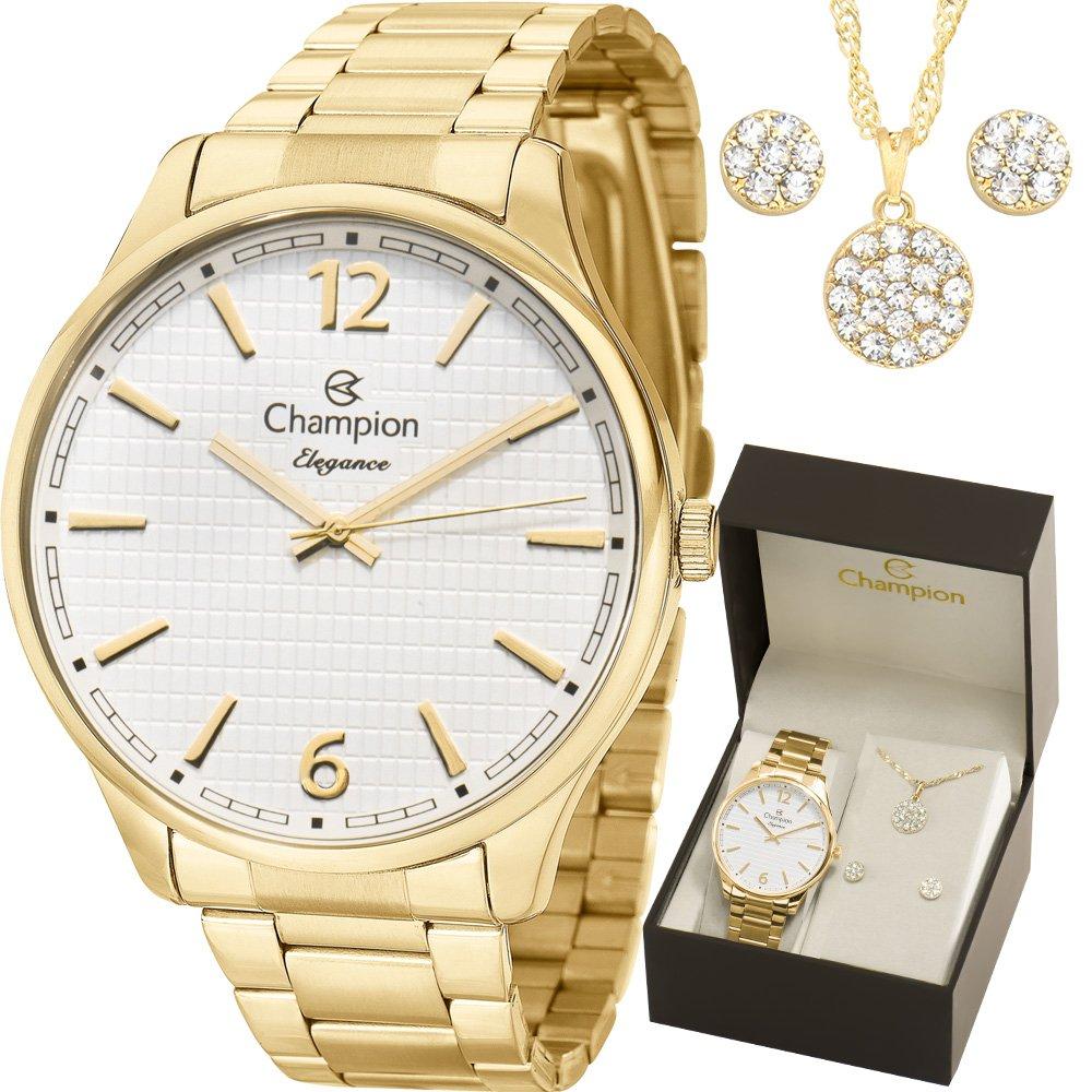 Relógio Champion Feminino Dourado + Kit Colar e Brincos - Elegance - CN27670W