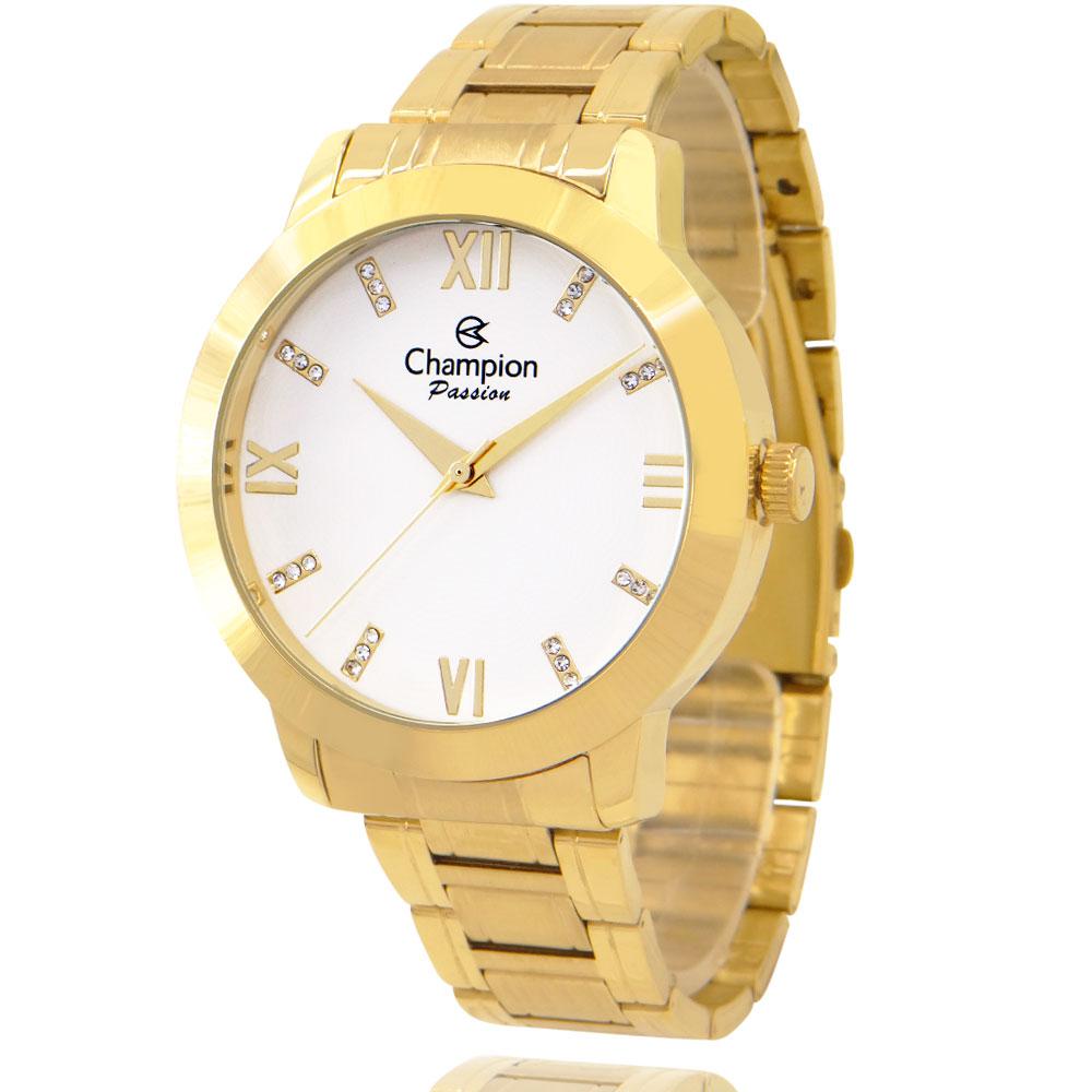 Relógio Champion Feminino Dourado + Kit Colar e Brincos - Passion - CN29169B