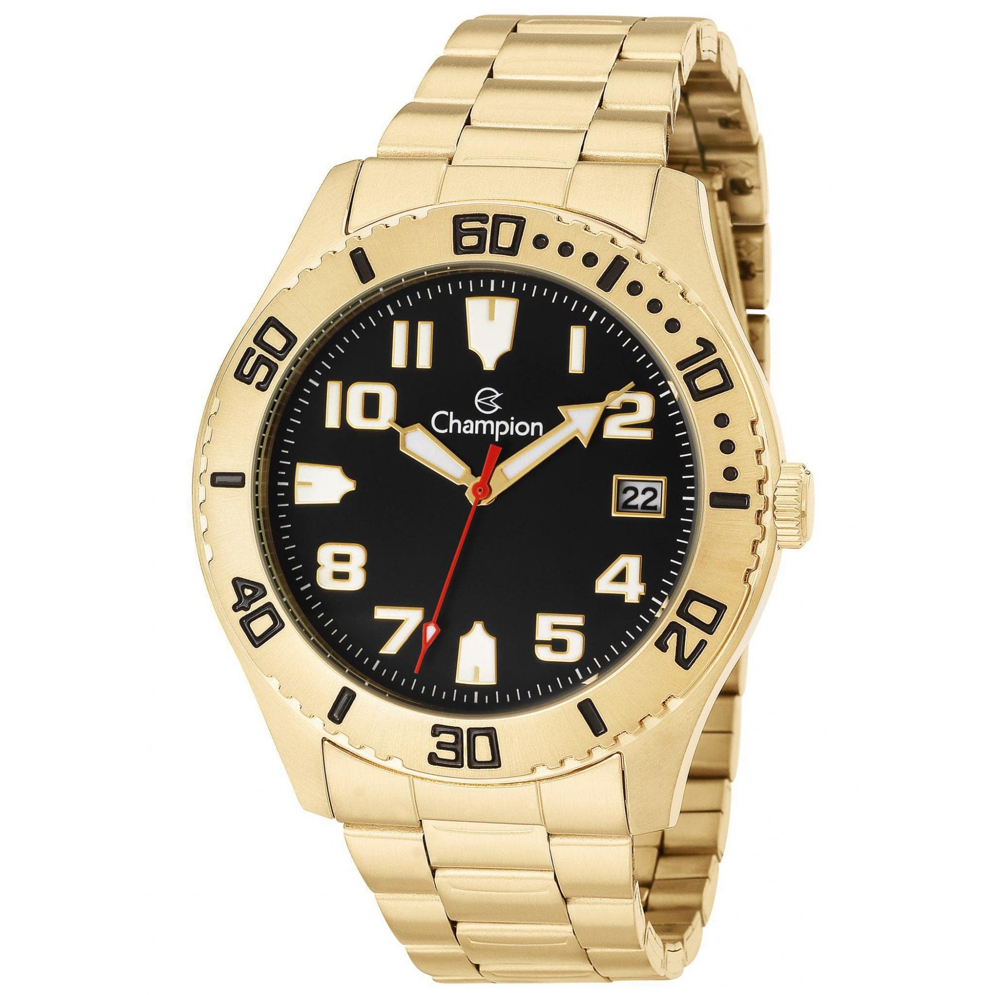 Relógio Champion Masculino Dourado Preto - Sports - CA31364U