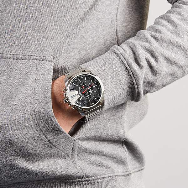 Relógio Diesel Masculino Prateado - Mega Chief - DZ4308