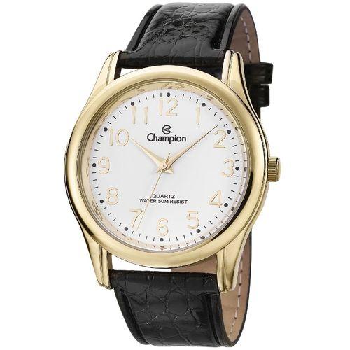 Relógio Masculino Dourado Pulseira de Couro Champion