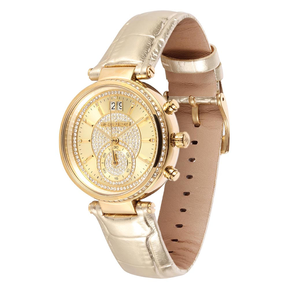 Relógio Michael Kors Feminino Dourado - Sawye - MK2444/2DN