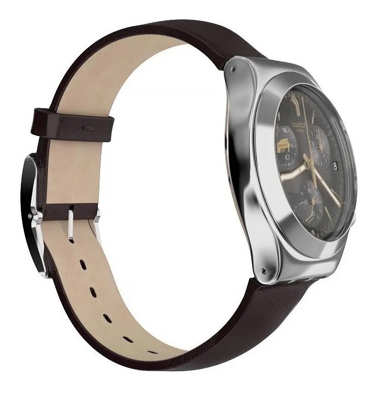 Relógio Swatch Masculino Marrom - BrownFlact - YCS600