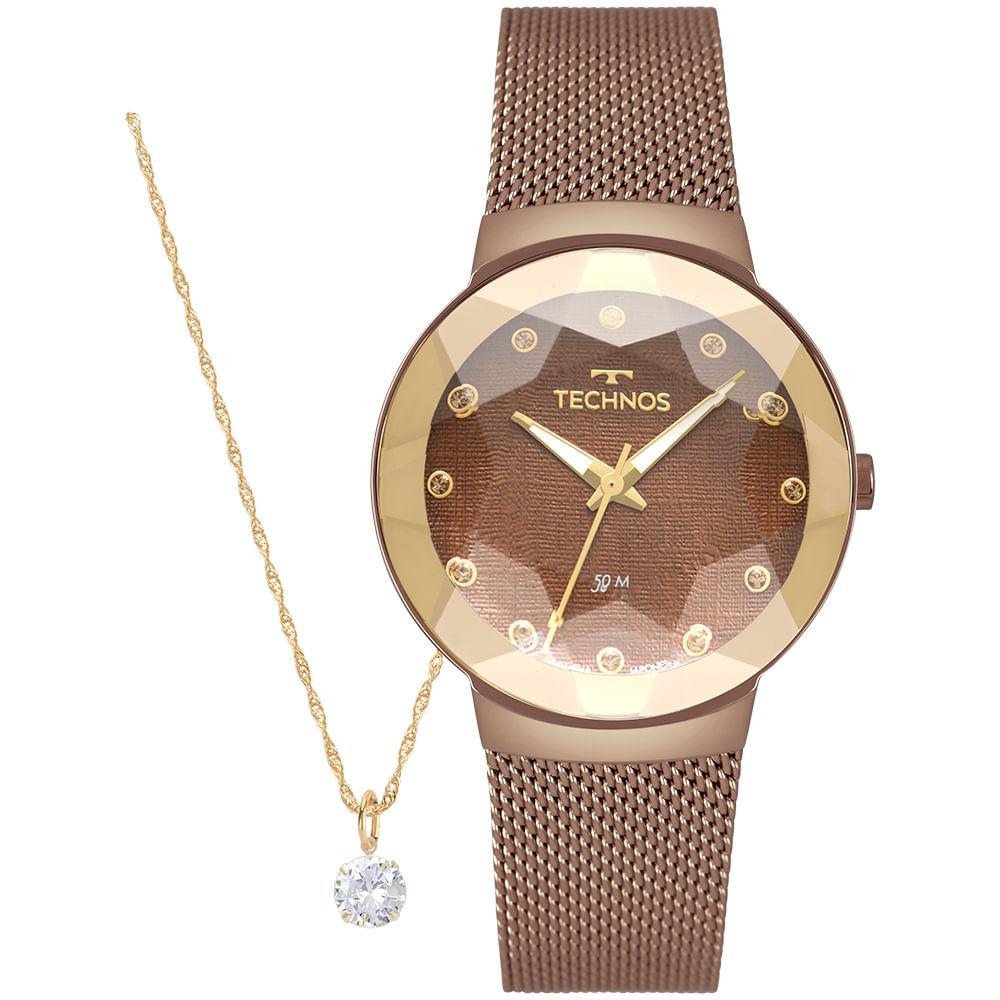 Relógio Technos Feminino Marrom - Crystal - 2035MRJ/K4M